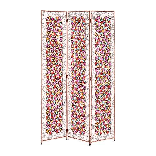 ぼん家具 パーテーション 3連 アンティーク調 間仕切り ステンドグラス風 衝立 高さ172cm おしゃれ かわいい