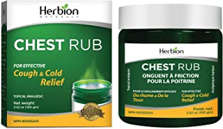 Herbion Naturals Chest Rub, 3.5 fl oz – Topical Analgesic; Relieves Cough, Nasal and Chest Congestion; Soothes Pains and A...