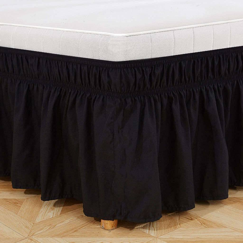 BEIGOO Solid Color Bed Skirt Three Ruffle Dust Sides Fabric Large-scale sale Ruff outlet