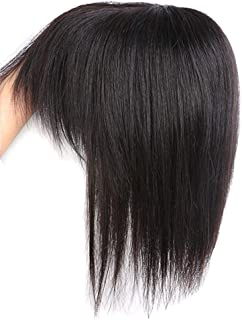 Hairpieces Hairpieces Human Hair Lace Hair Wigs in The Middle of The Straight Hair Short 150% Secret Holiday for Daily Use and Party (Color : Black, Size : 20cm)