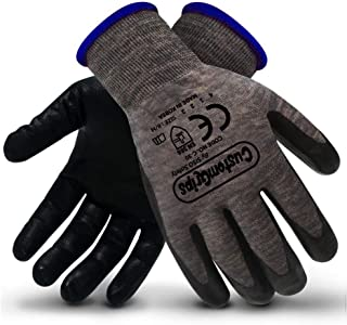 CustomGrips Cut Resistant Work Gloves. Span-Nylon Polyester Liner, Level 4 Abrasion Resistance, Nitrile Foam Palm Coated. Superior Breathability & Grip for All Day Comfort. [Medium, 6 Pairs]