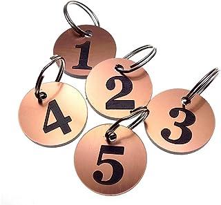 OriginDesigned - Portachiavi con targhette rotonde con incisione di numeri da 1 a 5, color rame, per hotel, ostelli, bed &...