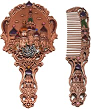 Nerien Women's Vintage Castle Portable Cosmetic Mirror Russian Style Handle Mirror Set with Comb (Copper)