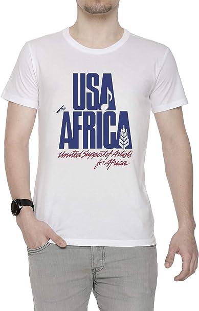 We Are The World Hombre Camiseta Cuello Redondo Blanco Manga Corta Todos Los Tamaños Men's White T-Shirt