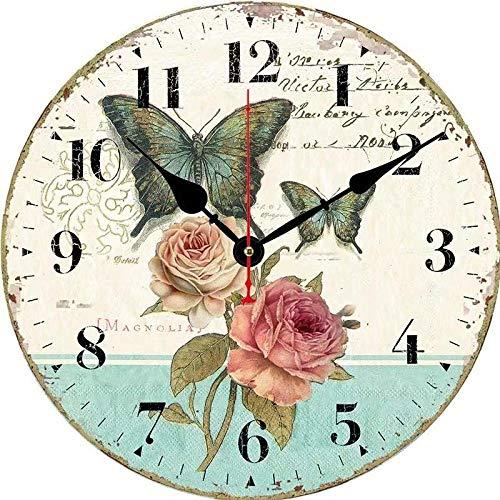 DFGSAA Reloj de Pared Creativo Reloj de Cuarzo de 12 Pulgadas Moderno Minimalista Sala de Estar Reloj Digital Reloj nostálgico Sala de Estar Dormitorio en casa Simple-Blanco
