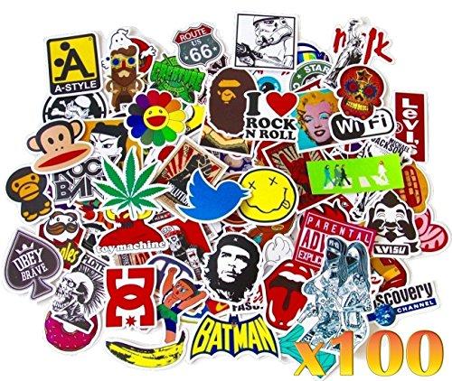 France en Stock 100 Autocollants Stickers Couleurs Fun pour Smartphone, Auto, Ordinateur, Casque, Skate.