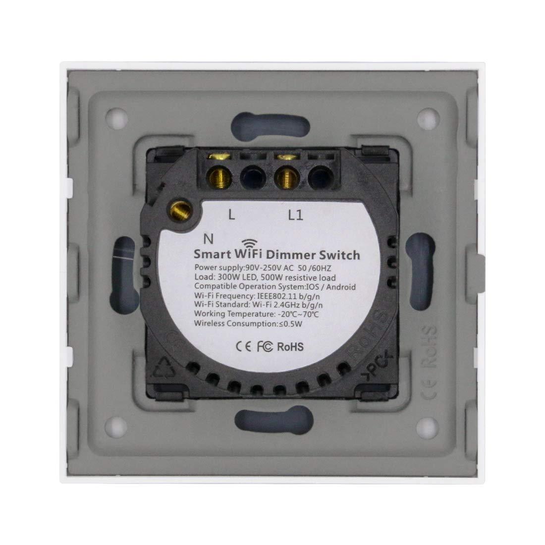 BSEED 300W Smart WIFI Dimmer Interruptor táctil LED Compitable 2.4GHz de luz de pared (se necesita línea neutral) 1 Gang 1 Via Gris: Amazon.es: Bricolaje y herramientas