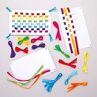 Baker Ross Rainbow Magic Carpet Weaving Kit (Pack of 6) AW688, Ribbon and Template Pattern Designs for Children