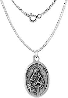 Sterling Silver St Catherine of Siena Medal Necklace Oval 1.8mm Chain
