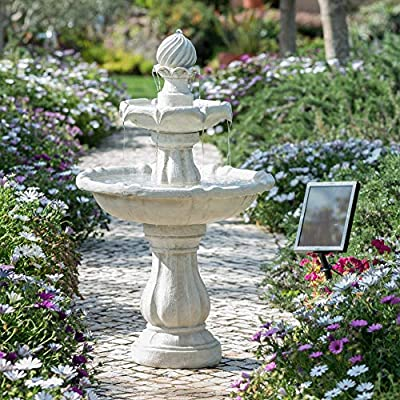 Small Solar Powered Water Feature Grey Resin Classical Tiered Birdbath Fountain PC204
