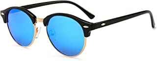 SUNGAIT Retro Round Polarized Sunglasses Classic Semi Rimless for Women Men (Black Frame (Glossy Finish) /Blue Mirror Lens...