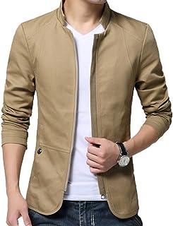 Leeharu Men Jacket Blazer Jackets Slim Fit Suit Jacket Casual Bomber with Zipper Blazer Business Wedding
