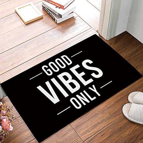 EZON-CH Good Vibes Only Doormat Quotes Black and White Modern Non Slip Watercolor Home Bathroom Bath Shower Bedroom Mat Toilet Floor Door Mat Rug Carpet Pad Indoor Doormats(19.7X31.5IN)