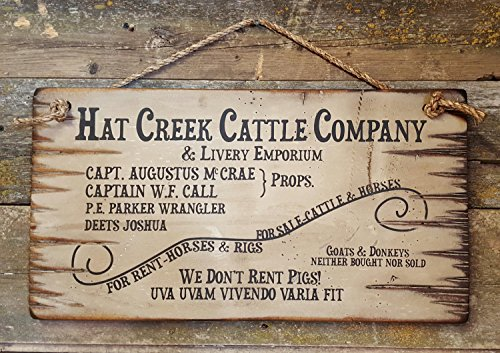 Hat Creek Cattle Company Livery Emporium Lonesome Dove Sign Western Antiqued Plaque Wooden Sign.