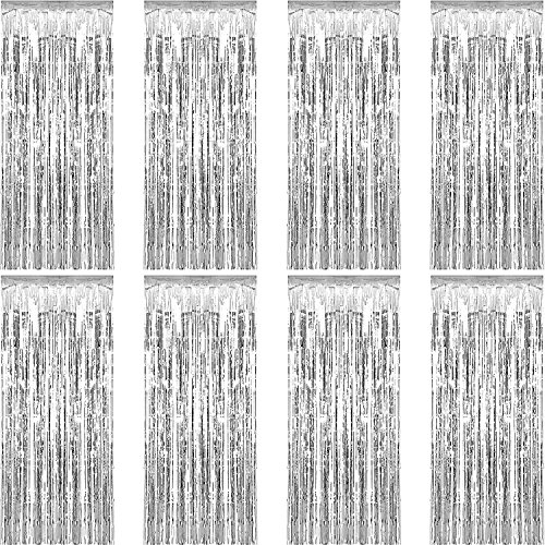 Sumind 8 Pack Foil Curtains Fringe Curtains Tinsel Backdrop Metallic Curtains for Birthday Wedding Party Photo Booth Decorations (Silver)