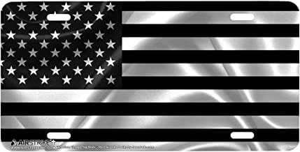 Airstrike Black American Flag License Plate Patriotic Front License Plate Made in USA (Made of Metal)-766