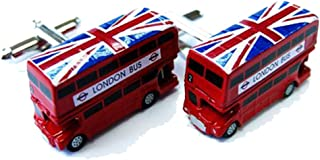 Mens Executive Cufflinks Transportation Collection England British Flag Double Decker Bus Cuff Links