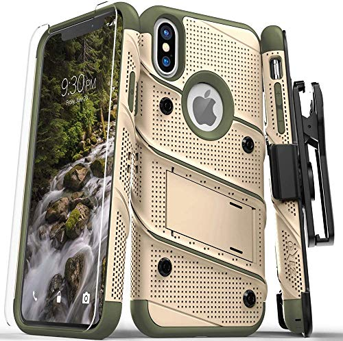 Zizo iPhone X Case - Zizo [Bolt Series] with Free [iPhone X Screen Protector] Kickstand [12 ft. Military Grade Drop Tested] Holster Belt Clip
