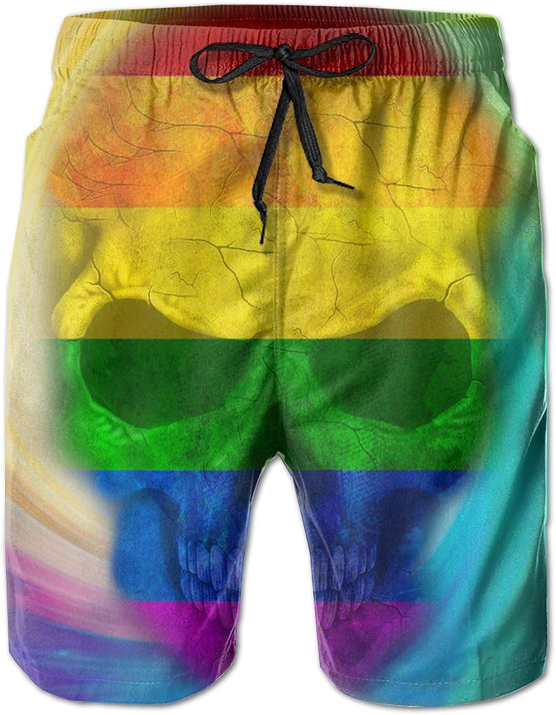 19887343422aa Lalysao Gay Pride Rainbow Flag Skull Men's Summer Summer Summer Shorts  09614b