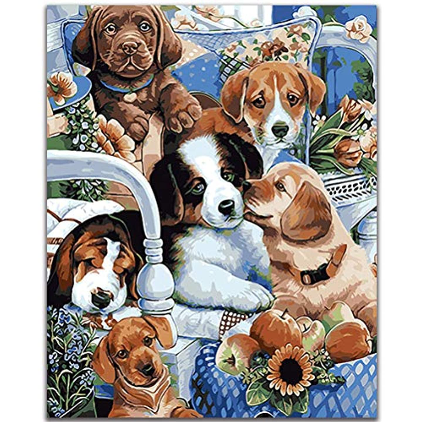 Fengtuo DIY Oil Painting Paint by Number Kit Canvas Painting Hand Colouring Decorative Picture-Lovely Dogs 16