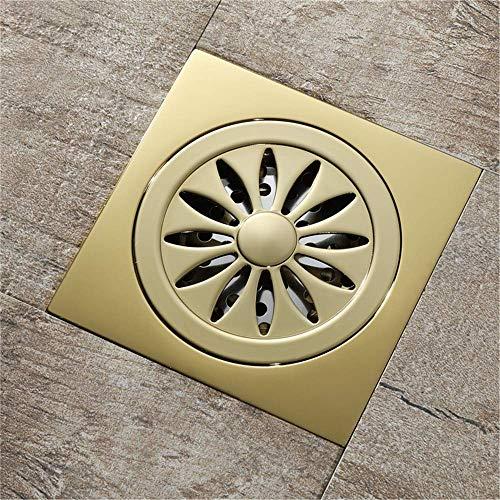 DYR 10X10cm Messing Bodenablauf Badezimmer Toilette Küche Anti Geruchsabläufe Haarsieb, Champagnergold