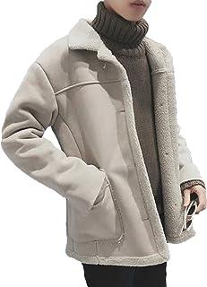 GuDeKe 毛襟 裏ボア 棉服コート メンズ ムートンコート ショート丈 ウール 大きいサイズ 裏起毛 厚手 防寒ジャケット 軽量 アウター 暖かい ブルゾン ファション