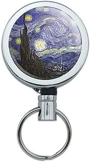 All Metal Retractable Reel ID Badge Key Card Holder with Belt Clip Art Paintings - Starry Night Vincent Van Gogh