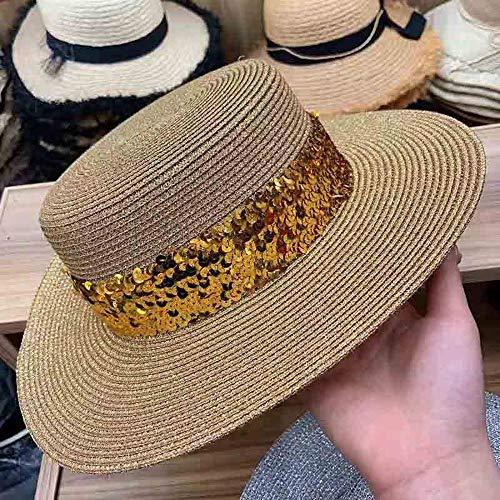 SJYDQ Nuevo oro gris de las lentejuelas sombrero del verano del borde ancho del sombrero de paja ajustable Beach sombreros del sombrero de sol for mujeres Cap navegante muchacha de Derby (Color : B)