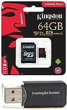 Kingston 64GB Micro React Memory Card Works with GoPro Hero 8 Black & Max Plus (1) Everything But Stromboli (TM) MicroSD Card Reader
