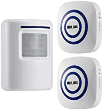 WJLING Motion Sensor Alarm, Wireless Driveway Alert, Home Security System Alarm with 1 Sensor and 2 Receiver -38 Chime Tunes - LED Indicators