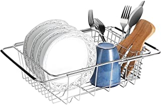 E-Gtong Expandable Dish Drying Rack, 304 Stainless Steel Dish Drainers with Utensil Holder and Adjustable Arms, Storage Basket Over the Sink, In Sink, On Counter Dish Drainer Rustproof Organizer Large