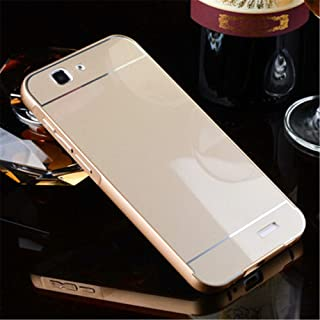 Tip-top Aluminum Metal Bumper Frame Case with Acrylic Back Plate Cover for Huawei Ascend G7 (Gold)