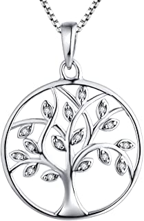 Tree Necklace 925 Sterling Silver Tree of Life Pendant Gemstone White/Rose Gold Plated Jewelry