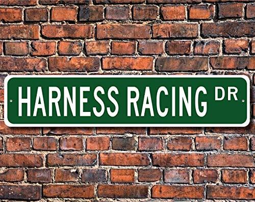 PotteLove Arnés de carreras, arnés de carreras, arnés de carreras, arnés de ventilador, regalo de carreras de caballos Sulky Race Custom Street Sign de calidad de metal