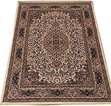 Ali Carpet Luxury Kashmiri Traditional Persian Design Silk Touch with 1 .00'' INCH Thickness Approx Carpet for Living Room and Bed Room -Ivory Color ((120X180 cm) 4 Feet by 6 Feet