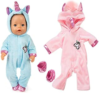 ebuddy Unicorn Jumpsuit Sets Include Sky Blue and Pink Doll Clothes 2 Pairs Shoes for 43 cm New Born Baby Dolls/ 15 inch Dolls (Pink+Blue)