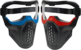 2 Pack Tactical Face Mask Protective Goggles – Eye Protection for Kids Red and Blue - Compatible with Nerf Rival, Apollo, Zeus, Khaos, Atlas, Artemis, and N-Strike Elite Blasters