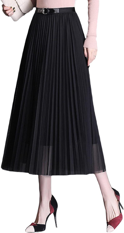 CHARTOU Women's Elegant Belt High Waist Pleated Tulle A-Line Midi Long Skirt