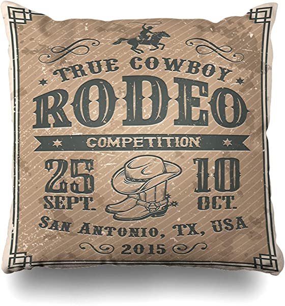 DIYCow Throw Pillow Covers Bucking Western American Cowboy Rodeo Vintage Sports Competition Recreation Country Texas Bull Farm Home Decor Pillowcase Square Size 20 X 20 Inches Zippered Cushion Case