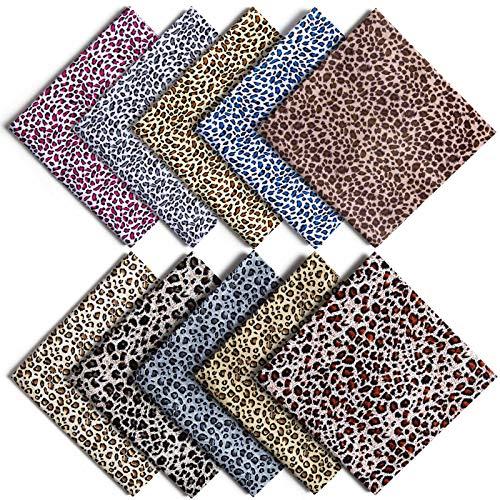 ZWOOS 10 Stück 48 x 48cm Baumwoll Stoff Leopardenmuster Stoffe zum Nähen Mundschutz, Baumwollstoff Meterware Baumwolle Meterware Stoffe Paket Patchwork Stoffreste für Nähen und Heimwerken