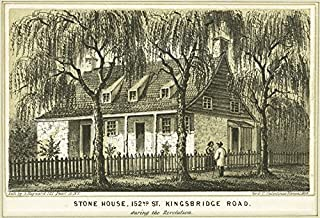 Historic Pictoric 1828 Print - Stone house, 152nd St. Kingsbridge Road during the Revolution - Vintage Wall Art - 44in x 30in