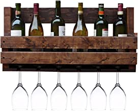 Wine Shelf with Glass Holder ,Wall-Mounted Hanging Wooden Shelf as Bottle Holder ,Made from Pallet Wood (Size : 70cm)
