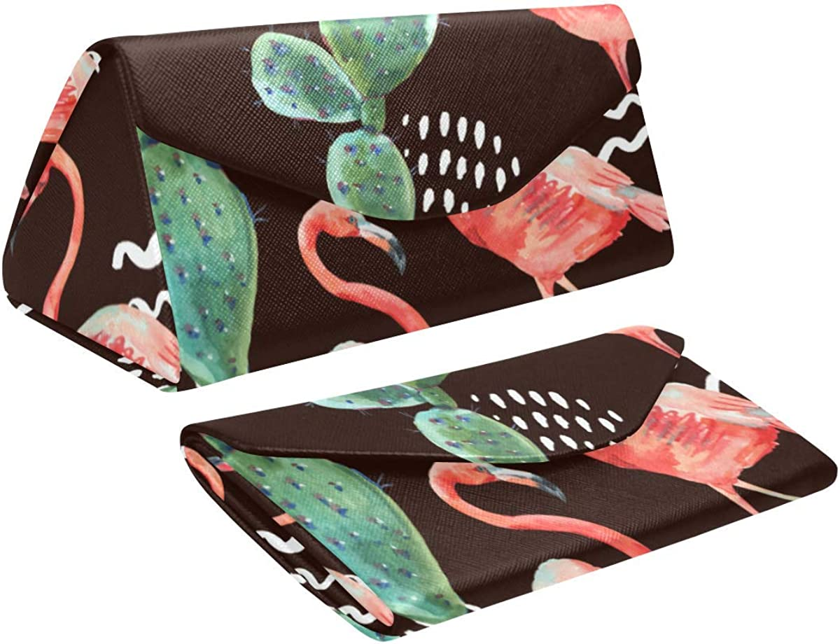Eyeglass Cases Custom Pink flamingo tropical flowers Painted Hard Shell Foldable Portable Glasses Case