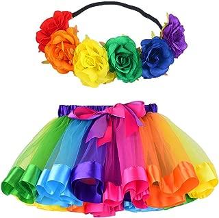 MY-PRETTYGS Layered Tulle Ballet Rainbow Tutu Skirt with Flower Crown Wreath Headband