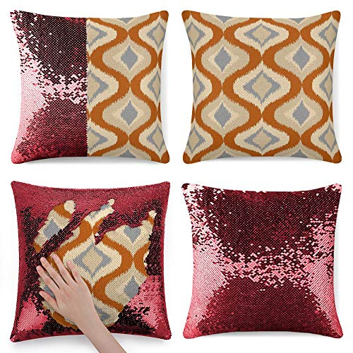 Tamengi Sequin Pillow Cover, Gray Orange Brown Beige Retro Ikat Drops Pattern, Zipper Pillowslip Pillowcase, Decorations for Sofas, Armchairs, Beds, Floors, Cars