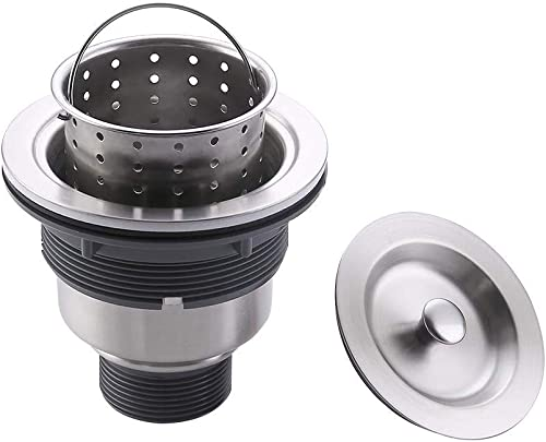 KES Kitchen Sink Drain Strainer 3-1/2-Inch Sink Drain Assembly Stopper with Basket Cover Lid Rustfree SUS 304 Stainle...