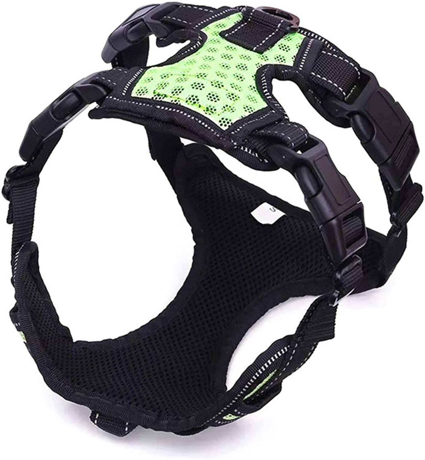 Dog Chest Strap with Traction Rope Pet Supplies ExplosionProof Punch Large Dog Pet Adjustable Comfort Breathable,Green,L