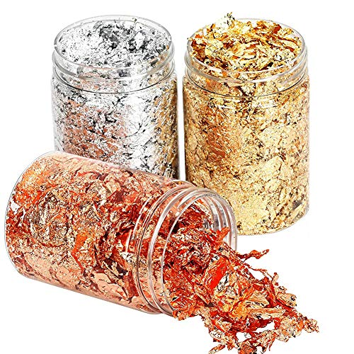 SUNSK Copos dorados Copos de lámina de oro Copos de Hojas Metálicos Hoja de Oro para arte de resina, manualidades, decoración de fabricación de joyas de uñas 3 Botellas
