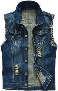 Men's Casual Lapel Denim Vest Jacket Slim Fit Sleeveless Jeans Motocycle Vests