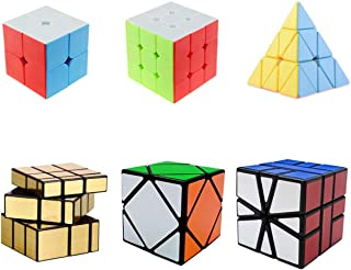 Magic Cube Set, Speed Cube 2x2 3x3 Pyramid Square-1 SQ1 Skewb Mirror Puzzle Cube, Toy Puzzles for Kids and Adults Set of 6 …